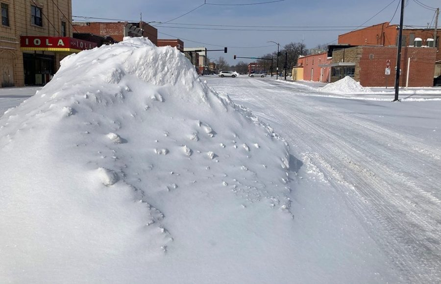 Snow pile on downtown street