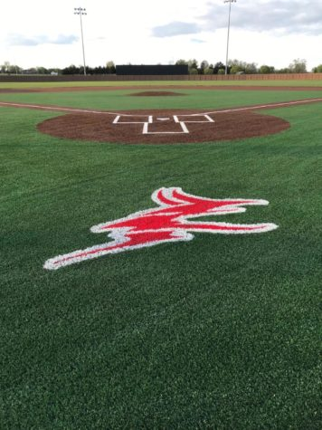 This photo shows what the final result of the turf installation will look like on both baseball and softball fields.